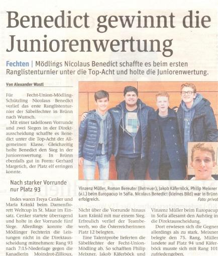 Benedict gewinnt Juniorenwertung - NÖN KW 45 1 2017