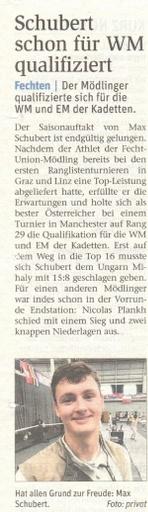 Schubert schon für WM qualifiziert - NÖN KW 42 2017