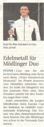 Edelmetall für Mödlinger Duo - NÖN KW 40 2017