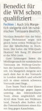 Benedict für die WM schon qualifiziert - NÖN KW 41 2017